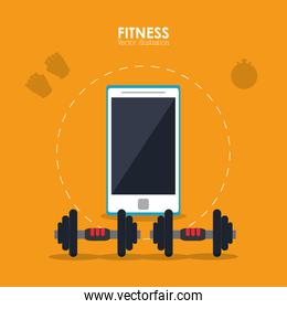 weight and smartphone icon. Fitness design. Vector graphic