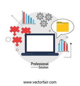 Laptop file and infographic con. Proffesional Solution. Vector g