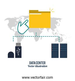 file usb and map icon. Data center design. Vector graphic