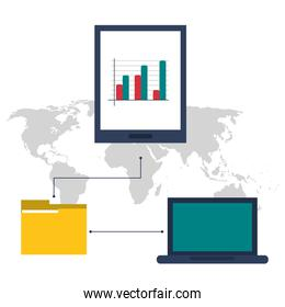Laptop file and tablet icon. Proffesional Solution. Vector graph