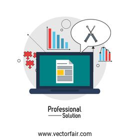 Laptop and screwdriver icon. Proffesional Solution. Vector graph