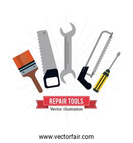 Pain brush saw wrench screwdriver tool icon. Vector graphic