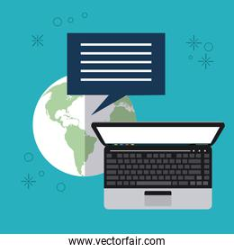 Planet bubble laptop email icon. Vector graphic