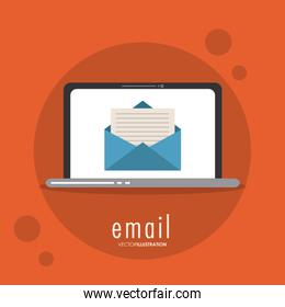 Envelope laptop email message mail icon. Vector graphic