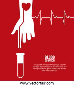 tube arm hand blood donation icon. Vector graphic