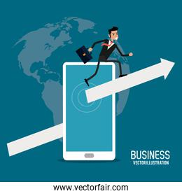 Businessman smartphone male business icon. Vector graphic
