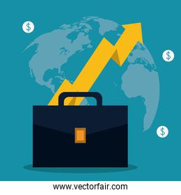 suitcase coins arrow bag business icon. Vector graphic