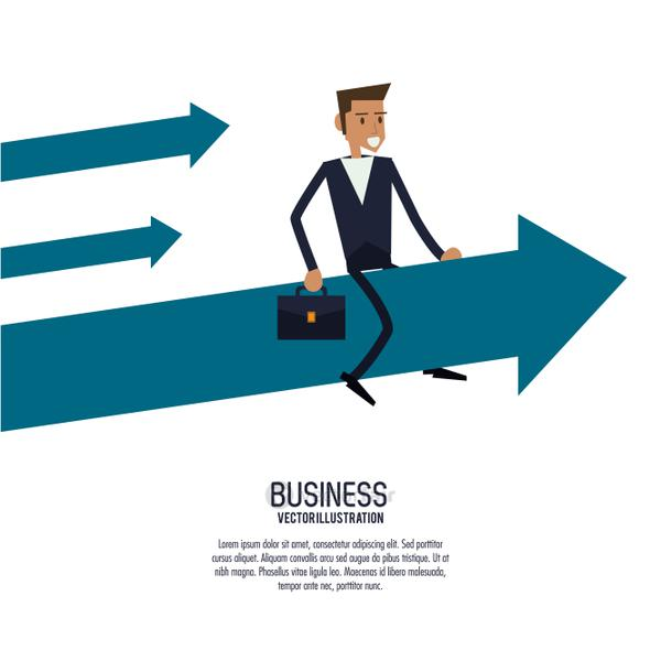 Businessman arrow male suitcase business icon. Vector graphic