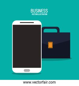 suitcase smartphone bag business icon. Vector graphic