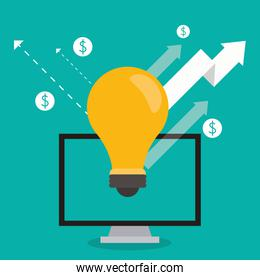 computer bulb arrow growth business icon. Vector graphic