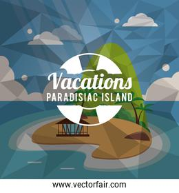 island summer holiday vacation icon. Vector graphic