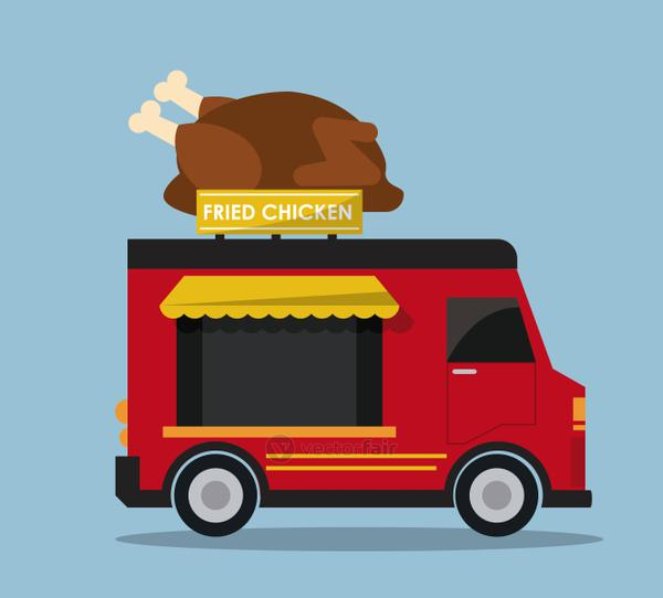 chicken truck fast food icon. Vector graphic