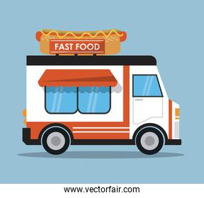 hot dog truck fast food icon. Vector graphic