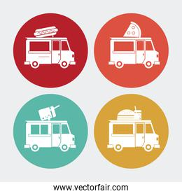 hot dog pizza ice cream hamburger truck. Vector graphic