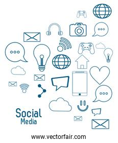 social media icon set. Vector graphic