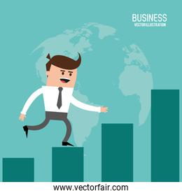 Businessman steps bars icon. Vector graphic