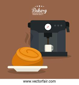 bread bakery coffee food icon. Vector graphic