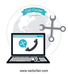 laptop wrench phone call center icon