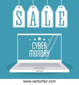 Laptop labels and cyber monday design