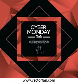 Shopping bag frame and cyber monday design