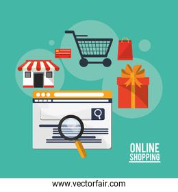 Shopping online ecommerce and media design
