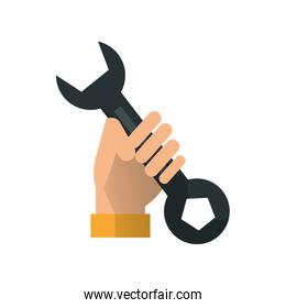 Wrench and hand of Under construction concept