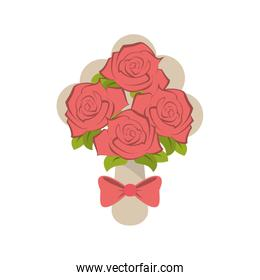 Isolated roses with bowtie design
