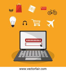 Laptop and shopping online icon set design
