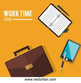 Work time and office supplies design