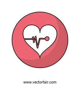 Heart with pulse of medical care design