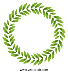 Isolated leaves wreath design