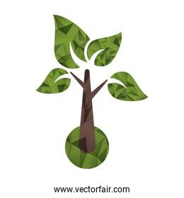 Isolated tree with leaves design