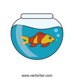 Fish animal cartoon inside bowl design