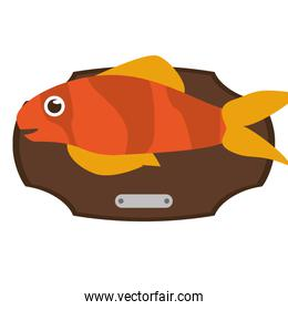 Fish animal cartoon over table design