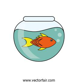 Fish animal cartoon inisde bowl design