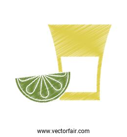 Isolated tequila shot with lemon design