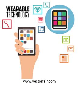 hand holding smartphone wearable technology