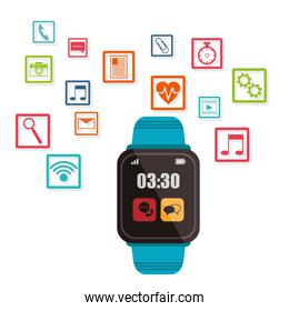 blue smart watch wearable technology over white