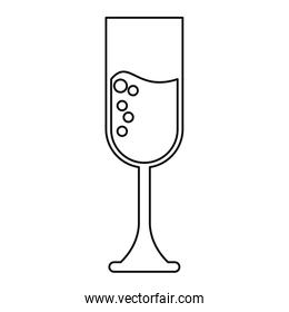 cup glass champagne love celebration outline
