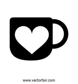 silhouette cup coffee love heart hot