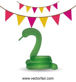 green snake balloon with pennant party