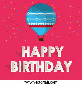 blue airballoon happy birthday card confetti and pink background