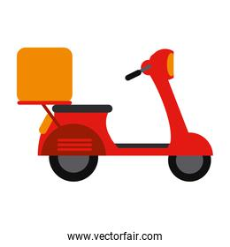 red motorcycle scooter delivery food