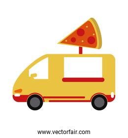 yellow pizza delivery truck fast food