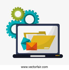 computer folder file email gears