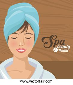 spa beauty and health woman smiling with towel head