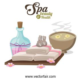 spa beauty and health with water bowl flower compress and towels