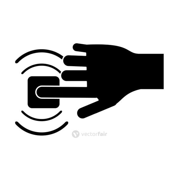 silhouette hand touch button wifi graphic
