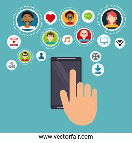 hand touch screen mobile social media multimedia