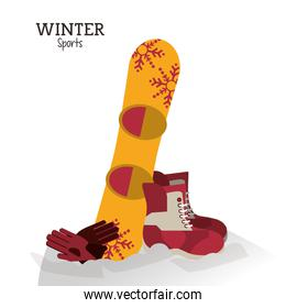 winter sport boots snowboard and gloves